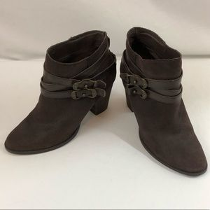 Reba ZANIA Brown Leather Ankle Boots Buckles Strap
